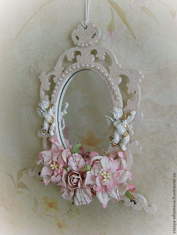 """Купить Интерьерное зеркальце """"Ангельское шебби"""" - бледно-розовый, зеркальце, зеркало ручной работы"""