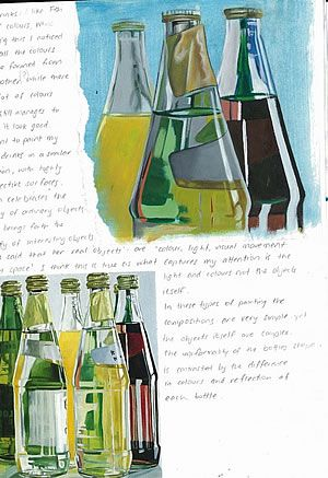 This A Level Art sketchbook page by Nikau Hindin shows an analysis of paintings by Janet Fish. The bottom left image is a photocopy; the top right image is an acrylic copy of part of the painting (there is rarely any need for students to slavishly replicate an entire painting – a small portion is enough for students to gain an understanding of the techniques and processes used).