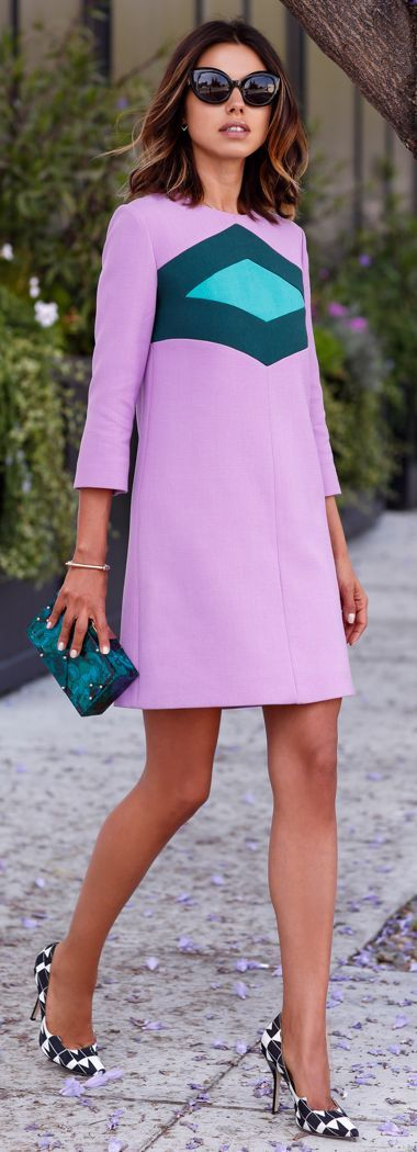 Lavender with contrast teal diamond wool & cotton crepe dress, high heel…