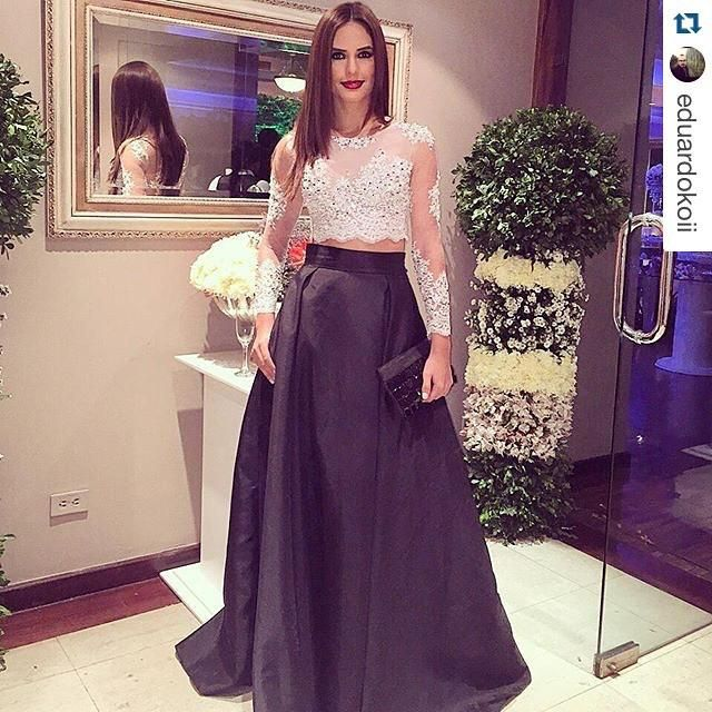 2015 Two Piece Classy Arabic Evening Dresses Black And White Lace Long Sleeves Crop Top Long Satin Prom Gown Personalized Plus Size Vestidos Online with $107.81/Piece on Sarahbridal's Store   DHgate.com