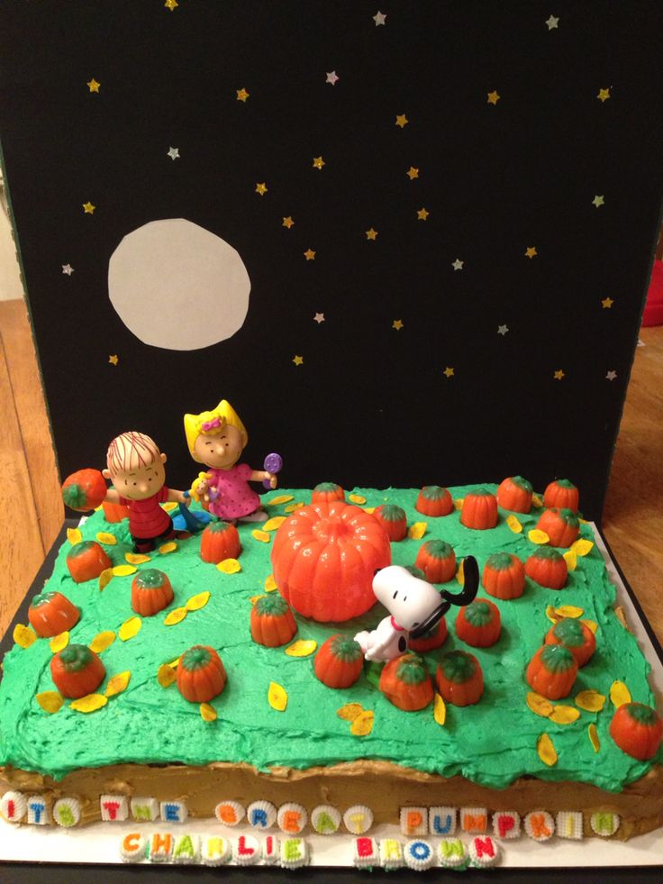 """It's The Great Pumpkin Charlie Brown!""  My son, husband and I made this fun cake for my son's Halloween party and ""cake walk"" contest at school!  Happy Halloween!"