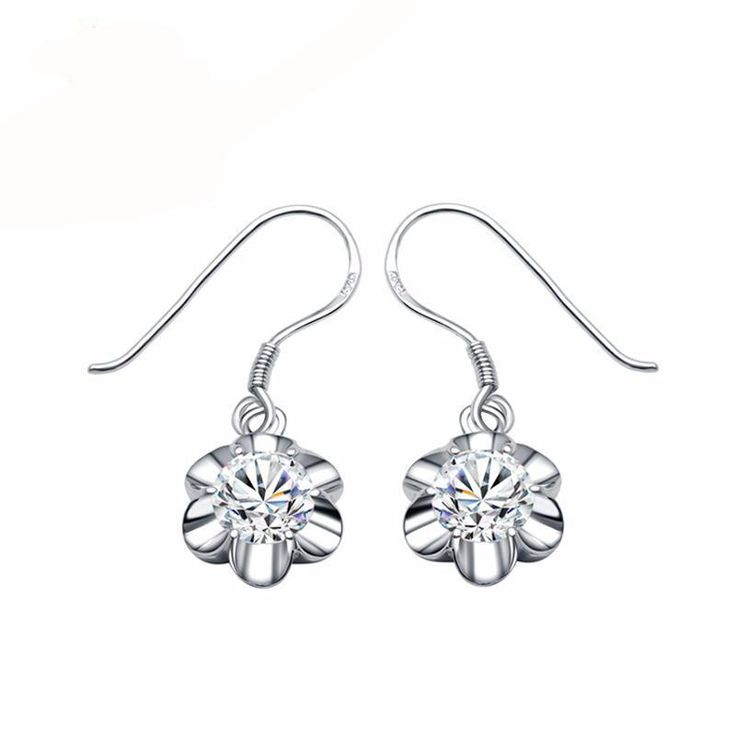 18K Solid White Gold Women Dangle Moissanite Earrings Certified 2.0CT/Pair Round Cut