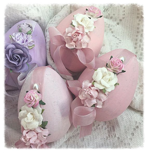 "Cottage Chic 3 Paper Mâché Easter Pink 4"" EGGS Bowl Fillers Roses ECS schteam…"