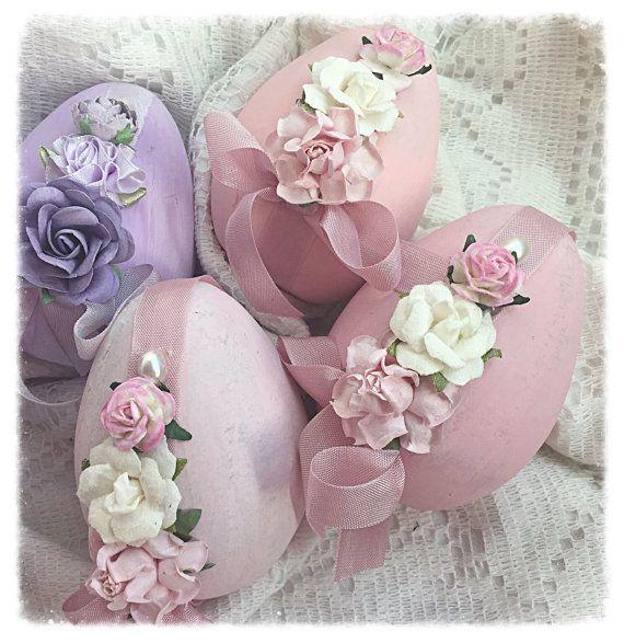 "Cottage Chic 3 Paper Mâché Easter Pink 4"" EGGS Bowl Fillers Roses ECS schteam sct SVFTeam"