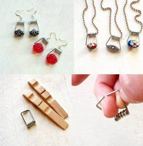 Use the clothes pins' springs and beads to make a cute necklace or earrings...