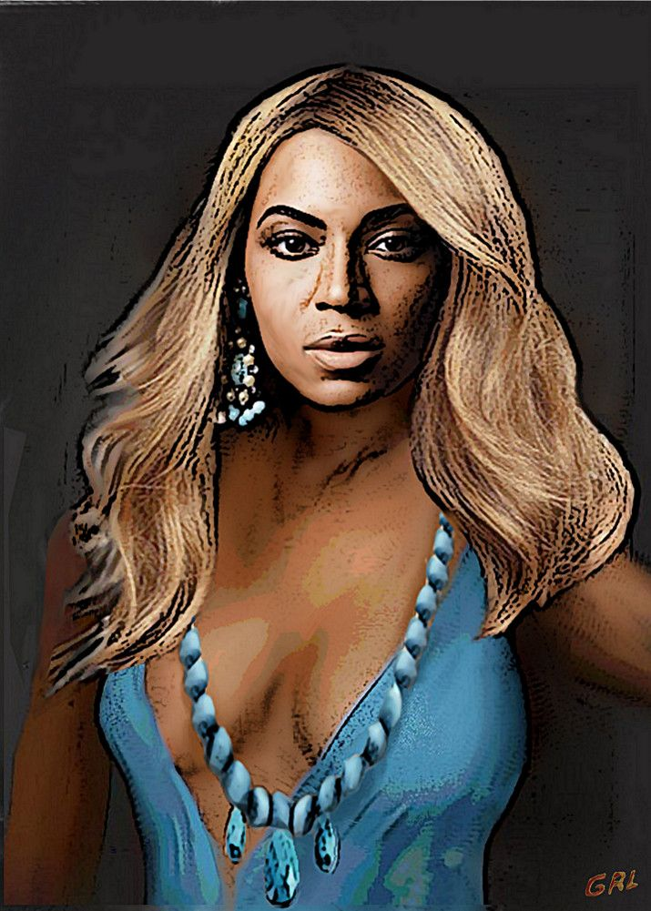 """Beyonce In Turquoise. $18 to $24, medium-size prints. Free downloads, wallpaper; follow here... I'd seen pics of Beyonce wearing Turquoise; the original is not currently available. ‬#‎GrlFineArt ‪#‎art‬‬ ‪#‎fineart #people #figurative #profile #scenes #colors ‪#‎painting‬ ‪#‎painting‬s #prints 'Traditional Modern Original Painting Beyonce In Turquoise"" Digital Art by g. linsenmayer buy now as poster, art print and greeting card...' """