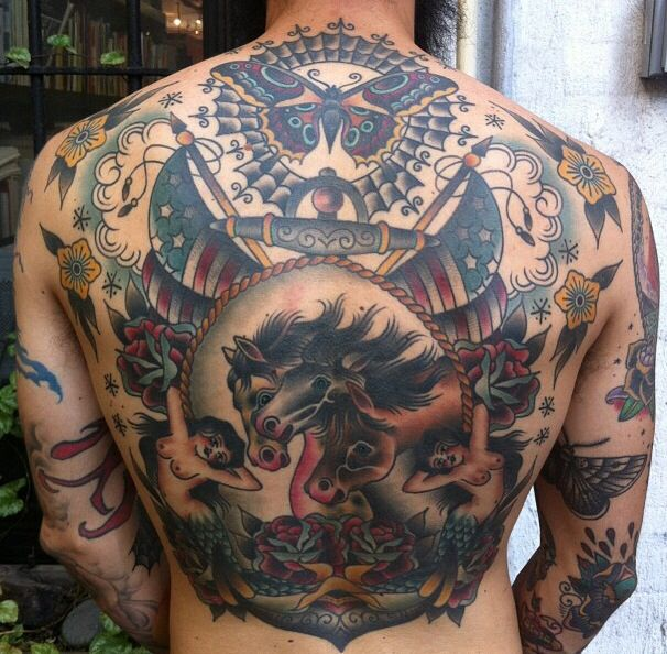 Traditional back piece | Very Cool Tattoo | Pinterest ...