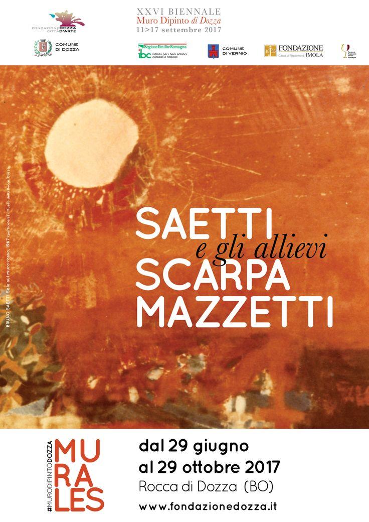 In mostra alla Rocca di Dozza fino al 29 ottobre 2017, MURALES - Saetti e gli allievi Scarpa e Mazzatti. I tre artisti che parteciparono al Muro Dipinto di Dozza, sono presentati attraverso un'ottantina di opere.