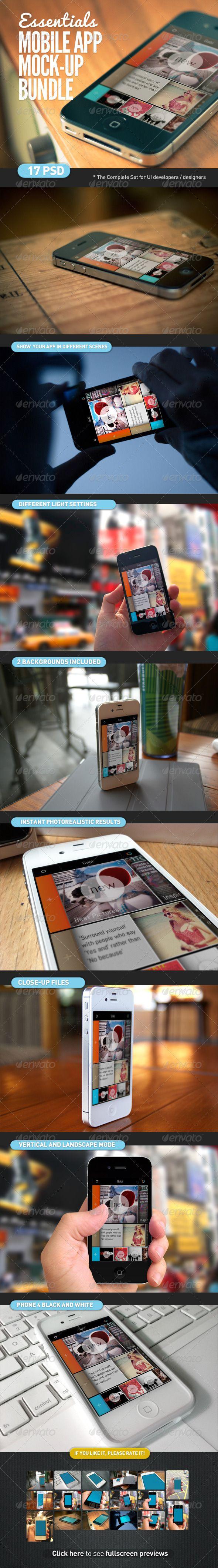 Mobile App   Screen Mock-Up Essentials Bundle