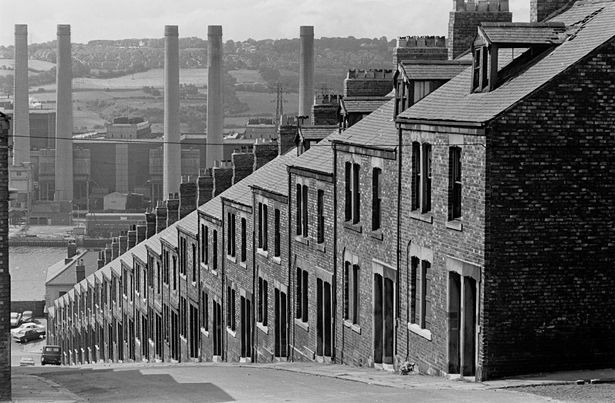 Street of terraced housing Newcastle upon Tyne 1969