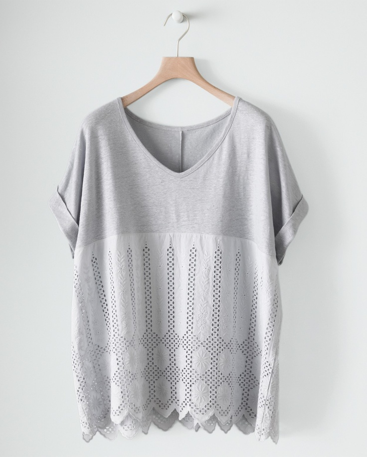 Image of Boxy Linen and Lace Top