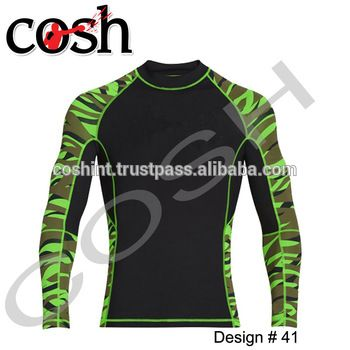 High Quality MMA Rash Guard For Training Rash Guard For Fight, Black Lycra Body With Printed Lycra Sleeves Shirt
