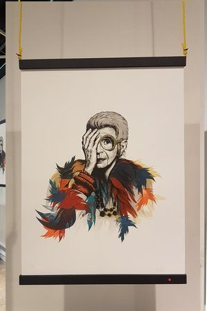 The prints, a portrait of Iris Apfel, will embodied her colourful style and sophistication and a playful sense of humour to match. Each one-off print was printed on 300gsm Arches cotton paper, with each layer of the image screen-printed in a multitude of finishes and hand embellishments, informed by her eclectic permutations of designer clothing and exotic accessories.  We closed the exhibition on April 2nd with a sold out show
