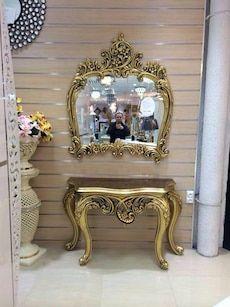Ayna ile bej ahşap konsol masası in Mahmutbey - letgo