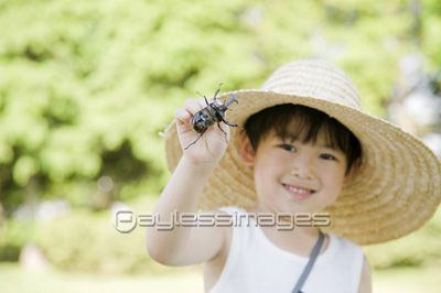 カブトムシを捕まえた笑顔の男の子