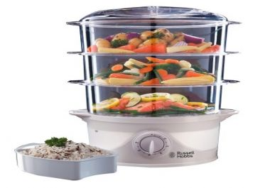 This steamer from Russell is made of stainless steel, It has a transparent base which makes it easy to check and maintain water levels making it ideal for even beginners.  It has both manual and digital timers which you can use interchangeably.