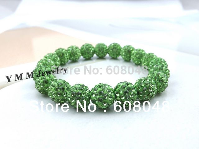 Wholesale 5pcs Light Green Pave Disco Ball Rhinestone Bracelet Stretchy Crystal Beaded Bracelets Free Shipping