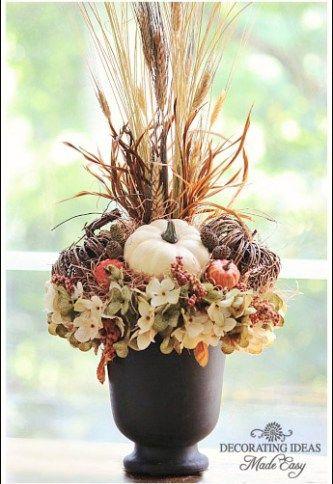 Easy Autumn floral arrangement tutorial from Jennifer Decorates.com