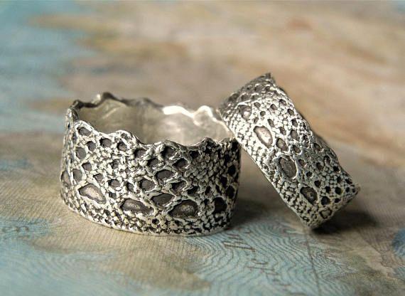 Fedi nuziali uniche pizzo corona anelli in argento Sterling