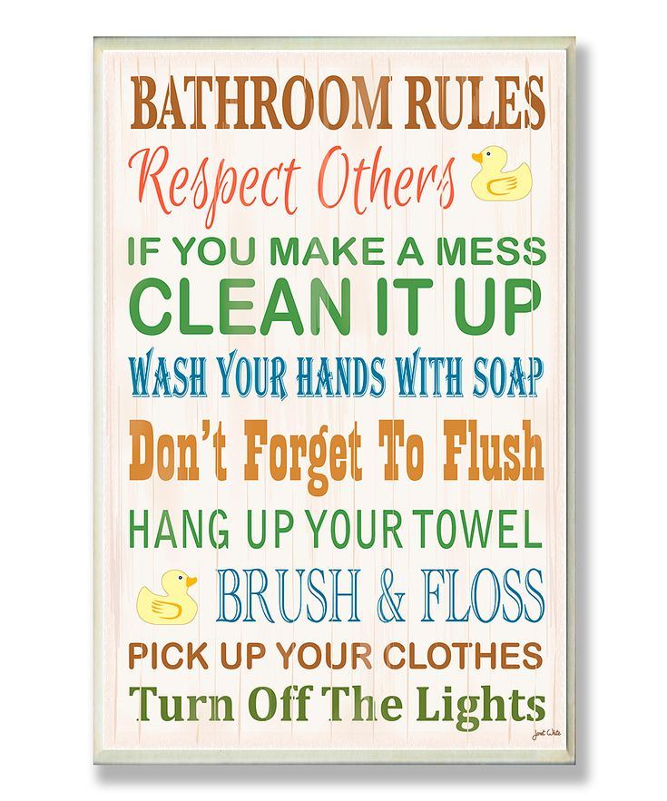Stunning 60 bathroom rules wall art design ideas of best for Bathroom decor rules