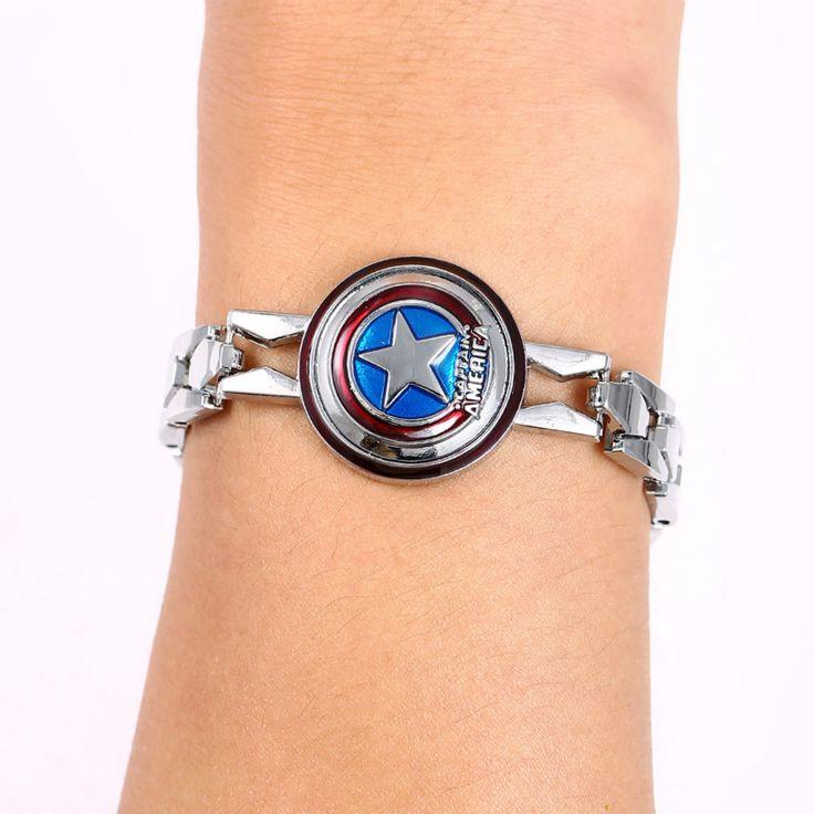 JM JEWELRY 12pcs/lot Hot Movie The Avengers Silver Alloy Bracelet Captain America Shield Metal Bangle WristBand for Men JM10585 #Affiliate