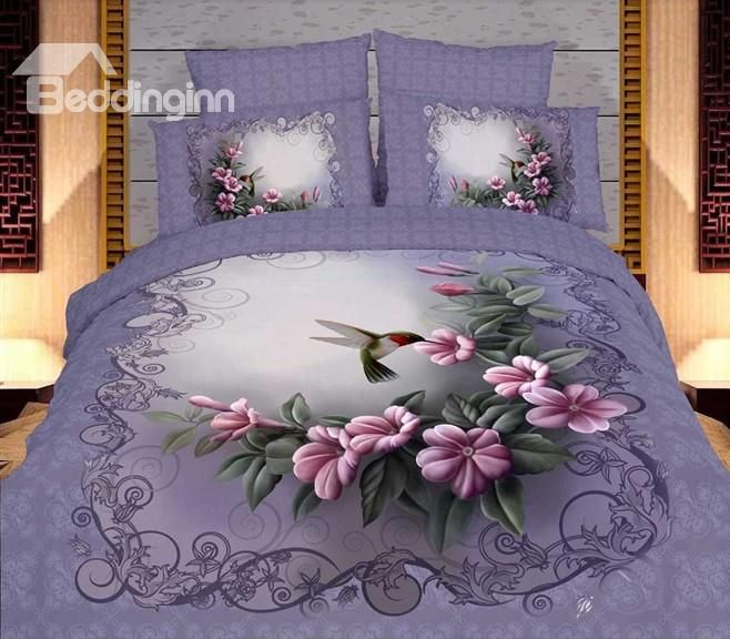 Old Fashion Floral Purple 4 piece Duvet Cover Bedding Sets