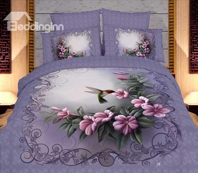 Old Fashion Floral Purple 4 piece Duvet Cover Bedding Sets