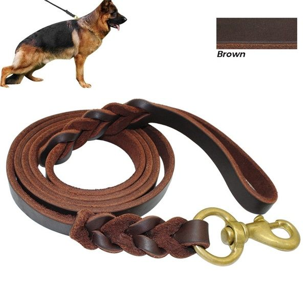Cowhide Pet Dog Training Leash Lead Braided Leather Lead Long