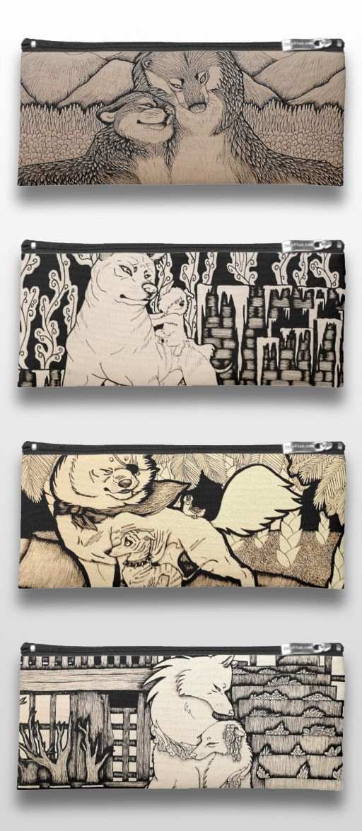 Black and White Illustrated Wolf and Dog Pencil Cases. #art #illustration #products #gifts