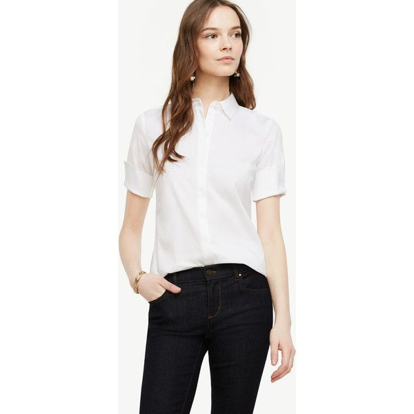 Ann Taylor Petite Short Sleeve Perfect Shirt ($60) ❤ liked on Polyvore featuring tops, white, long white shirt, short sleeve shirts, long short sleeve shirts, short sleeve tops and long tops