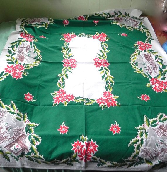 Items Similar To Vintage Santa S Workbench Dickens Choir: 177 Best Christmas Tablecloth Images On Pinterest