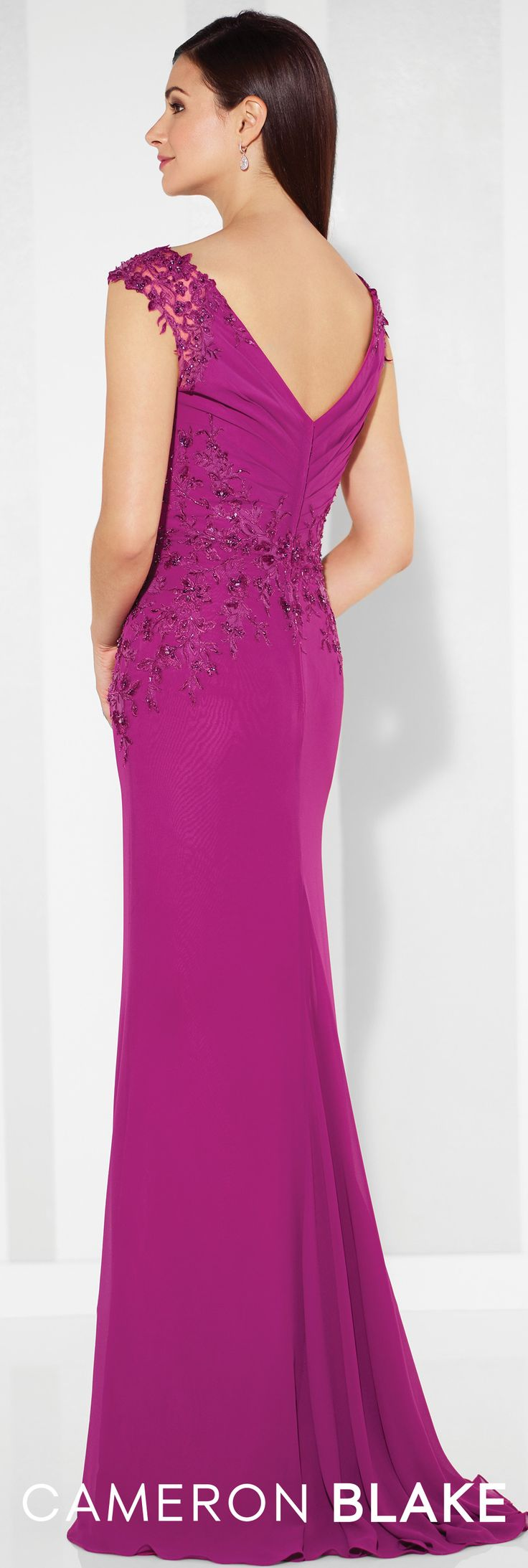 Formal Evening Gowns by Mon Cheri - Spring 2017 - Style No. 117616 - berry chiffon evening dress with lace trimmed cap sleeves
