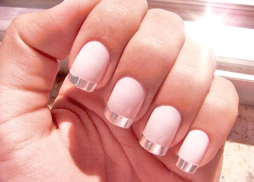 pretty with an edge ;) #nails: Nails Art, Nails Design, Nailart, French Manicures, Spring Nails, Pink Nails, Pale Pink, Nails Polish, French Tips
