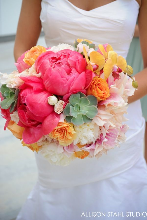 Wedding at The Crocker Art Museum, Sacramento, Ca, Bridal Bouquet of pinks and corals, peonies, roses, & succulents