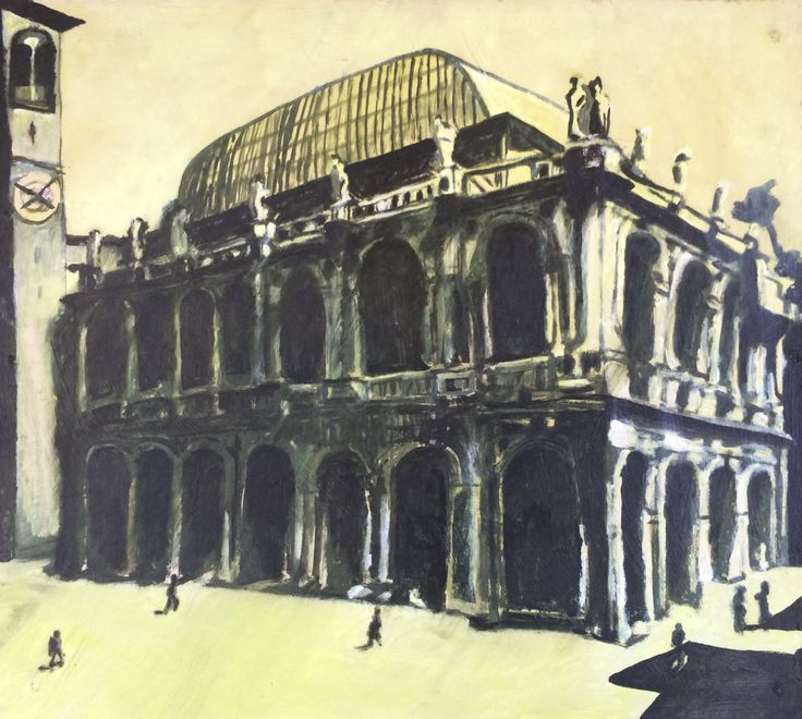 Swedish contemporary artist Fredrik Jensner, title Basilica Vicenza. Oil painting.