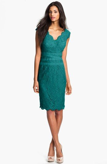 Tadashi Shoji Lace & Tulle Sheath Dress (Regular & Petite) available at #Nordstrom