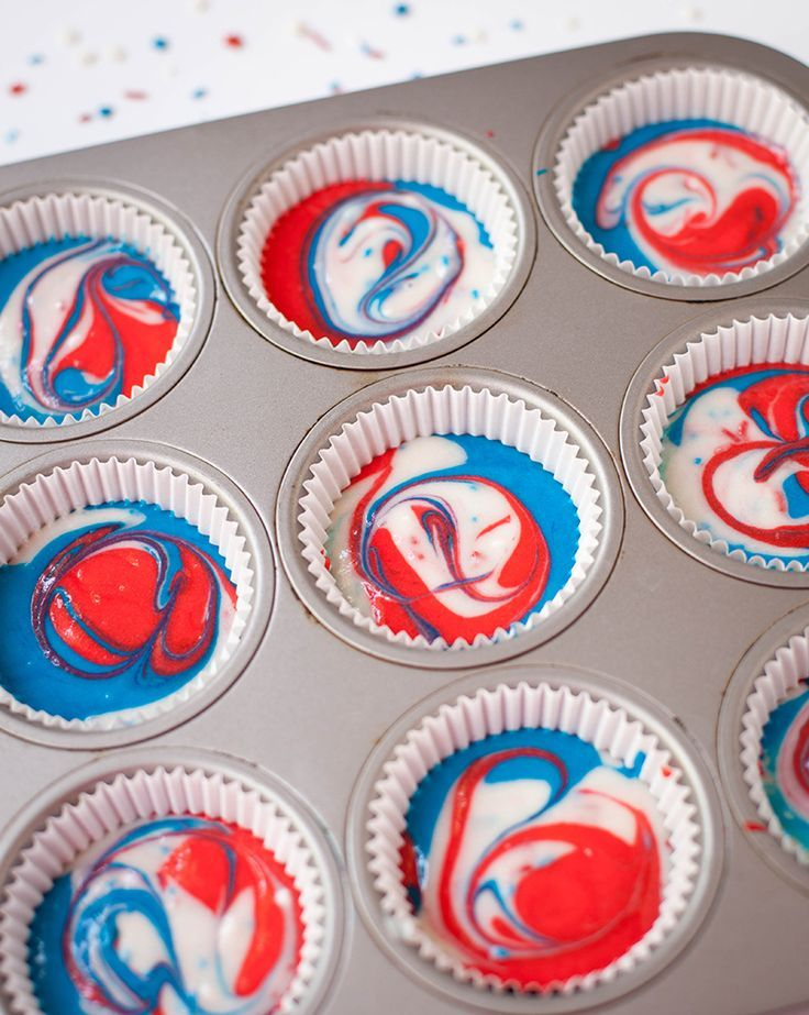 DIY Fourth of July Red, White & Blue Bunting Cupcakes
