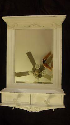 Wall-Mount Entryway Vanity Organizer Mirror Hallway Cabinet Shabby Cottage Chic