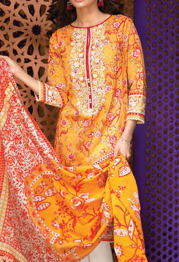 Buy Yellow Embroidered Cotton Lawn Dress (2pc) by Khaadi 2016 Contact: (702) 751-3523 Email: info@pakrobe.com Skype: PakRobe
