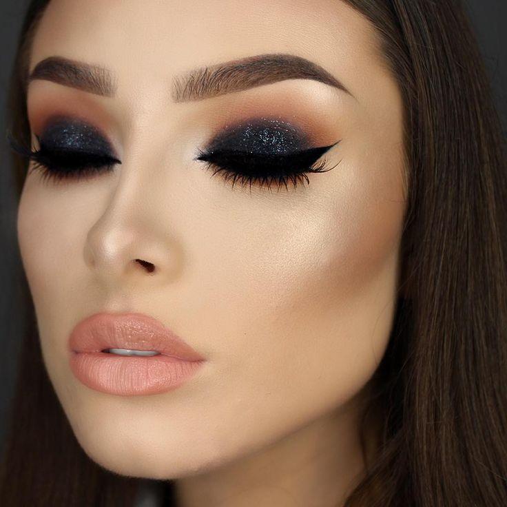 """Black, glittery smokey eyes ✨ Eyes - @lorealparisofficial Infallible eyeshadow in Eternal Black (lid). @makeupgeekcosmetics eyeshadows in Peach Smoothie,…"""