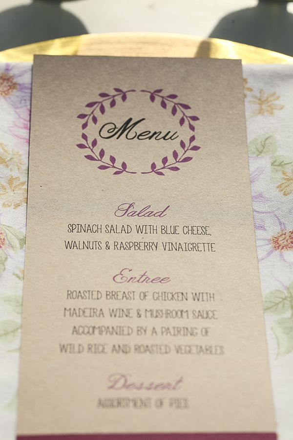 wedding menu http://www.weddingchicks.com/2013/10/01/plum-and-gold-wedding/