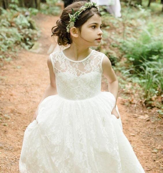 Tea Length Lace Tulle Flower Girl Dress