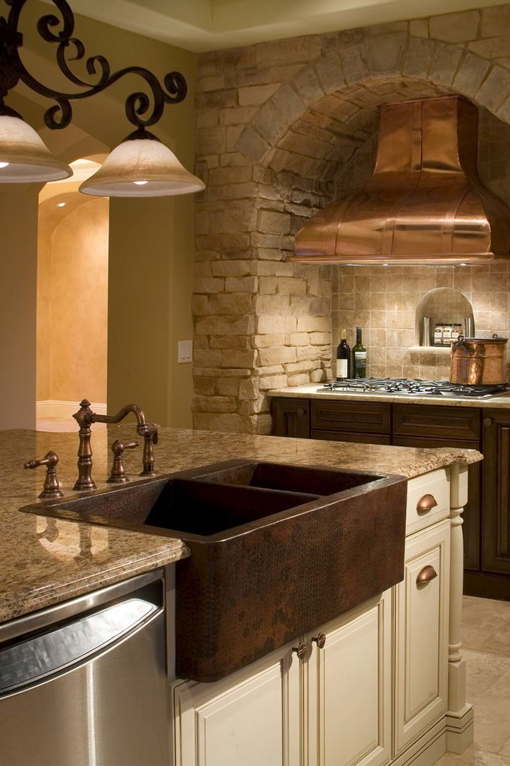 Custom Kitchen Featuring Copper Range Hood With Hammered Copper Farm Sink