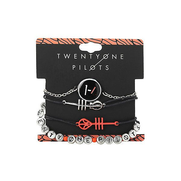 Twenty One Pilots Blurryface Bracelet 4 Pack | Hot Topic ($11) ❤ liked on Polyvore featuring jewelry, bracelets, bracelet jewelry and bracelet bangle
