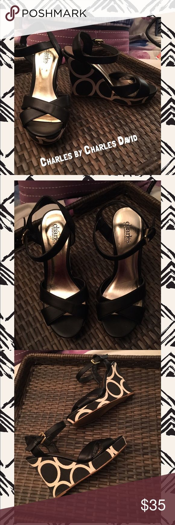 "Charles by Charles David Black Beige Wedge SZ 6.5 Excellent Condition  Beautiful Pair of Black with Beige Wedges.  Crisscross Straps in the Front. Back Strap with Buckle. The Wedge is 4 1/2"" in Height.. Wedge is Black with Beige Circles. Gives them a Really Nice Look💕. Leather Upper.  Size 6.5 Charles David Shoes Wedges"