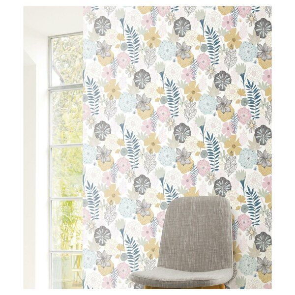 Weese Blooms 20 5 L X 16 5 W Peel And Stick Wallpaper Roll Wallpaper Roll Peel And Stick Wallpaper Room Makeover