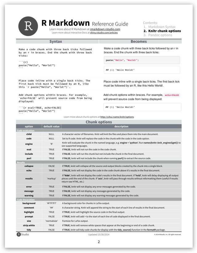 RStudio Cheat Sheets  The cheat sheets below make it easy to learn about and use some of our favorite packages. From time to time, we will add new cheat sheets to the gallery. If you'd like us to drop you an email when we do, let us know by clicking the button to the