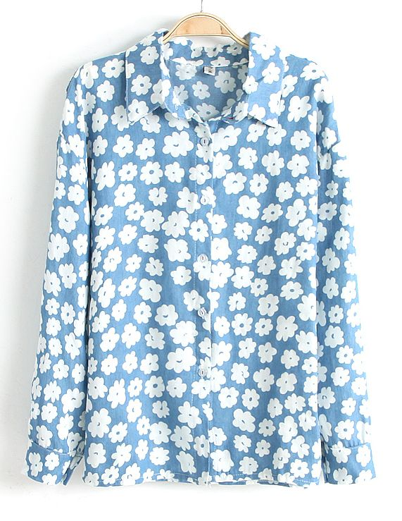 Blue Lapel Long Sleeve Floral Denim Blouse - Sheinside.com