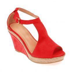 Sandales compensées bi-matière rouge
