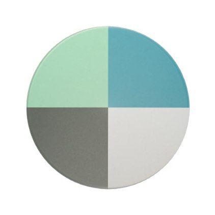 Coal Gray Ivory White Teal Green Aqua Blue Coaster - classic gifts gift ideas diy custom unique